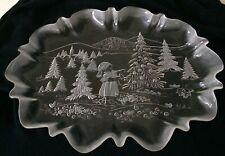 "Mikasa Crystal Vintage A Christmas Story Large Oval Holiday Platter 17 1/2"" Mint"