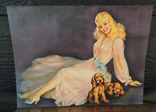 """Vintage Pinup Sample 9-51  7.25"""" x 9.5""""  Girl with Cocker Spaniels"""
