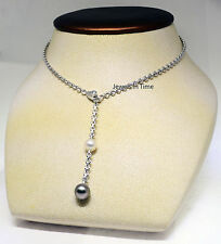 Cartier Ladies Lariat Necklace 18k White Gold Diamond & Pearls