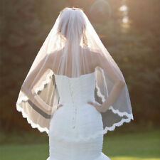 Hot Wedding Veil White Ivory One-tier Elbow Veils Lace Applique Edge With Comb