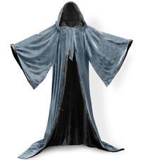 Women Men Halloween Velvet Hooded Cloak Robe Medieval Witchcraft Larp Cape