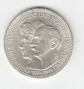 Anhalt 3 Mark 1914 Silberhochzeit Sup