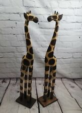 More details for pair super giraffes hand carved wooden giraffes ornaments 80cm