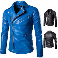Hot Men's Outwear Zipper Slim Biker Motorcycle PU Leather Jacket Short Coat