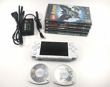 Sony PSP 2001 White Slim - 6 Games BATMAN - TWISTED METAL - NEW SCREEN+BATTERY!