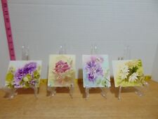 """Four 1988/89 Floral Theme Hand Painted Metal Tile by C. Diegel 4 1/2"""" x 4"""""""