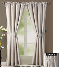 "Beige Window Treatment Set : 2-Faux Silk Curtain Panels, 2-Tiebacks, 76""w X 84""l"
