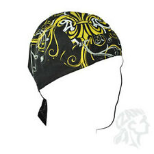 Black Gold White Fleur de Lis Large Pattern #2 Doo Rag Headwrap Skull Cap Biker