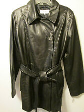 Calvin Klein Designer 100% Leather Black Double Breasted Long Jacket Coat  L NEW