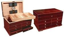 Holds 300 Cigars! High Gloss Cherry Humidor Desktop display Drawers and Key