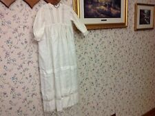 "Vintage Christening Gown with Lace and Crochet 37.5"" long Beautiful!"