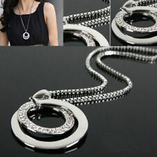 Women Silver Bling Rhinestone Chain Double Circles Pendant Jewelry Necklace
