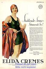 Elida Creme Reklame 1928 Badeanzug Bademode 20er Jahre Badekappe Badenixe Erotik
