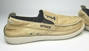 Crocs Santa Cruz Men's 11 Mickey Mouse Disney Canvas Loafers Khaki Boat Shoes