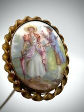 Antique Porcelain Hatpin Genteel Afternoon of Gentleman and Lady. Very Pretty