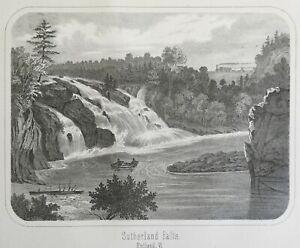 Sutherland Falls Rutland Vermont 1864 Walling scarce lithographed print