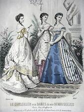 GRAVURE ANCIENNE MODE 19e - CONSEILLER DAMES ET DEMOISELLES - FEVRIER 1867