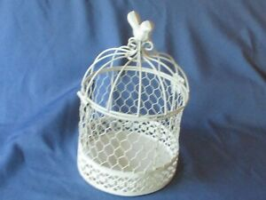 Decorative Ornamental White Painted Wire Birdcage Freestanding Planter Candle