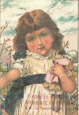 1880's Lovely Girl Doll Franklin P. Albright Graduate in Pharmacy Card P142