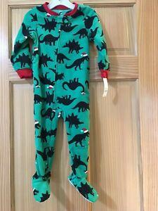 New Carter's Dinosaur Fleece Pajama PJs Footie Sleeper Green Holiday Christmas