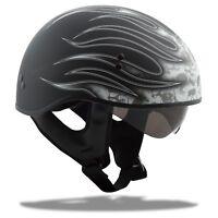 GMAX GM65 HALF HELMET FLAT BLACK WHITE FLAME BLACK  MEDIUM HARLEY MOTORCYCLE