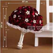 """HANDMADE"" Rose Flower Bridal Wedding Bouquet Brooch Crystal Silk Pearls Flowers"
