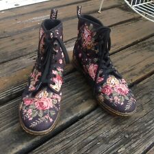 Dr Martens Docs Black Pink Floral Shoreditch Ankle Boots Womens 9 EU 41 Shoes