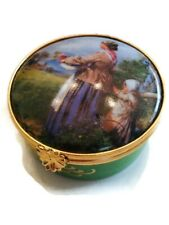 Limoges Trinket Box Round Mother and Child Hinged Clasp France Collectible Gift