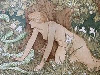 JD BATTEN gravure sur bois Art Nouveau EVE et le serpent mythologie 1896 woodcut