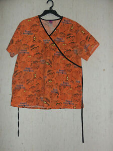 "EXCELLENT WOMENS Disney CHESHIRE CAT ""HAPPY HALLOWEEN"" ORANGE SCRUBS TOP  SIZE L"