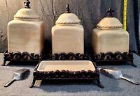 Artimino, Tuscan Countryside Cream, Canister Set, Fleur De Lis