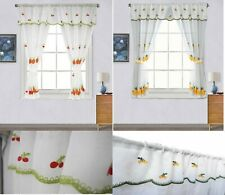 Embroidery Pole/Rod Pocket Cafe Kitchen Window Curtain With Valence and Tiebacks
