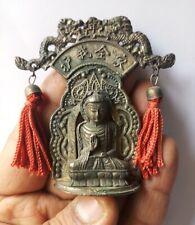 Chinese Buddhism Shakyamuni Sit Buddha White Metal Antique old Statue