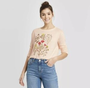 New Woman's Fifth Sun Rosewater Pink Floral L/S Shirt (Size Large) B.