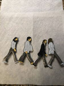 LITTLE LEAGUE PINS ERROR SET BEATLES ABBEY ROAD 4 INCH 3D YELLOW SKIN TONES