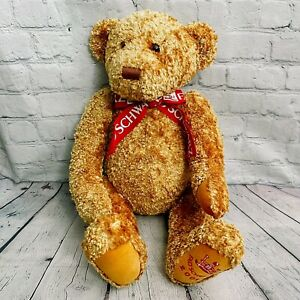 """Large FAO Schwarz Fifth Avenue Jointed Teddy Bear 2002 Red Bow 24"""""""