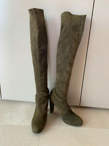 Stuart Weitzman khaki/olive green over-the-knee suede pull-on boots