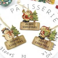 3Pcs Christmas Wooden Pendant Hanging Door Decorations Xmas Tree Party Ornaments
