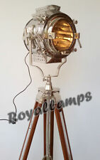 Nautical Hollywood Lighting Big Searchlight Vintage Home Decor Floor Lamp Tripod