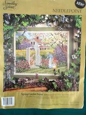 Candamar Something Special Needlepoint Spring Garden Scene Vtg 1992 kit