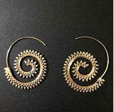 Chapado en Oro Pendientes Redondos Espiral Remolino