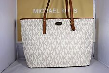NWT Michael Kors Vanilla PVC Jet Set Travel Carryall Tote Shopper Bag LARGE