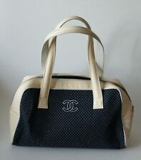 Auth CHANEL CC Logo Blue Fabric & Cream Patent Leather Hand Bag