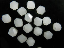 50pcs Charms 6mm Loose Jade White Bicone Crystal Glass Faceted Spacer Beads