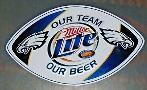 """Philadelphia Eagles Miller Lite Car Magnet  Our Team Our Beer  12"""" X 7"""""""