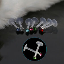 16 Pcs  Crystal Labret Monroe Lip Ring Stud BIOFLEX Bar Body Piercing Beauty
