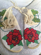 Vintage Buckskin Beaded Rose Moccasins