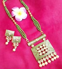 Green Meenakari Kundan Pearl Indian Wedding Long Fashion Necklace and Earrings
