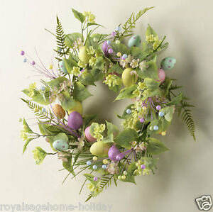 "W3300051 RAZ 18"" Floral Pastel Egg Wreath Easter Spring Decoration Wall Door"