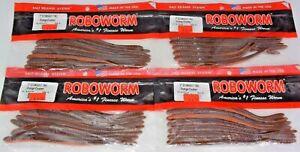 """Four 8-Packs Roboworm 7"""" Straight Tail Orange Crusher Soft Plastic Worms"""